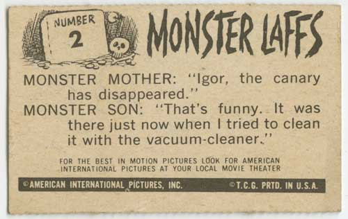 1963 Topps Monster Laffs Midgee #2 back