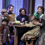 A Christmas Carol, The Musical 2013 - Pictured L-R: Vincent Rodriguez (Tiny Tim), Cole Burden (Bob Cratchit), Kira Vuolo (Martha), Katie Phipps (Cratchit Girl) and Joannie Brosseau-Beyette (Mrs. Cratchitt) Photo Credit P. Switzer Photography 2013