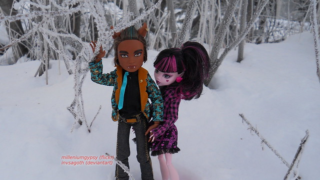 Lala and Clawd walking in frosted trees