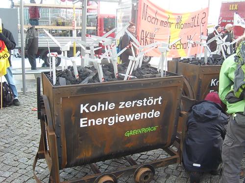 Energiewende Retten! Berlin 3.12.2013 Kohlewagen Greenpeace