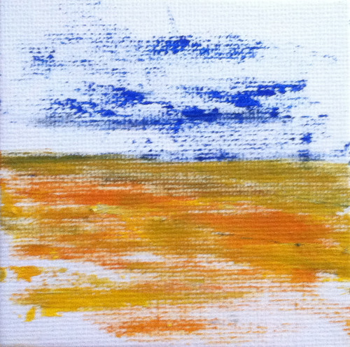Blue Sky Golden Field (Mini-Painting as of December 3, 2013) by randubnick