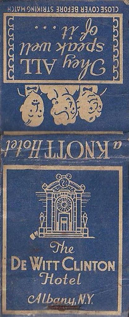 dewitt clinton hotel matchbook albany ny 1930s