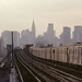 Manhattan Skyline & subway train by DarkLantern
