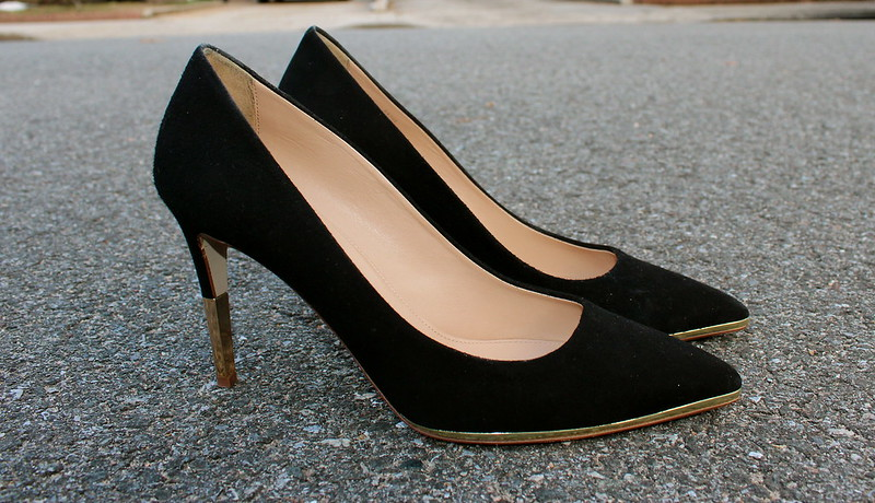 Jcrew+black+suede+pump+gold+heel