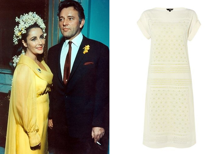 Elizabeth Taylor short yellow wedding dress