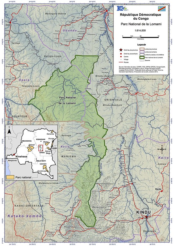 2013 map of the Lomami National Park