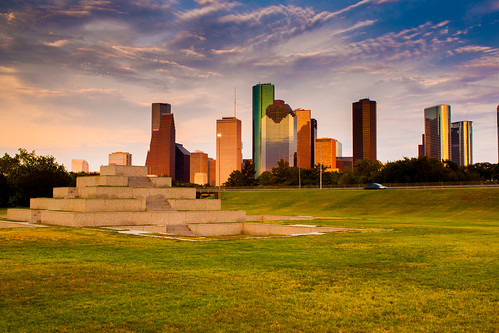 sunset monument skyline clouds buildings memorial downtown texas tx houston police
