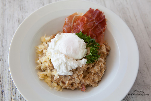 Savory Oatmeal with Prosciutto and Skellig Cheese