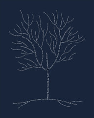 Family tree with names art navy white ancestry roots