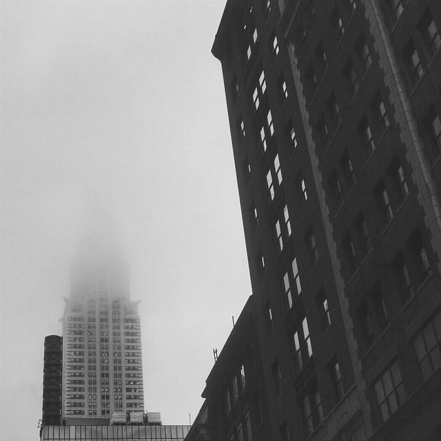 Foggy skyline from below #walkingtoworktoday