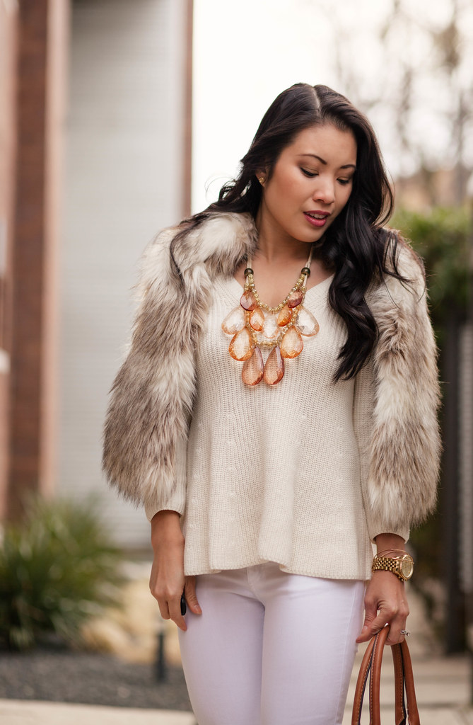 cute & little blog | spring white | fur vest, flutter sweater, white jeans, kate spade gold heels, teteo statement necklace outfit