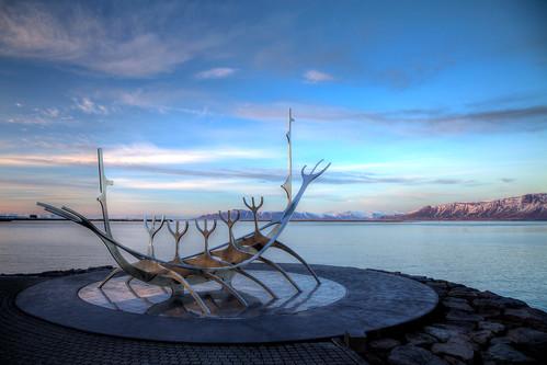 sunset sea sculpture sun mountain snow night clouds boat iceland harbour voyager viking reykjavík gunnar jón scandanavia árnason