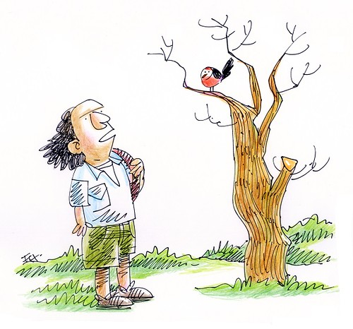 the hiker and the red-chest blackbird