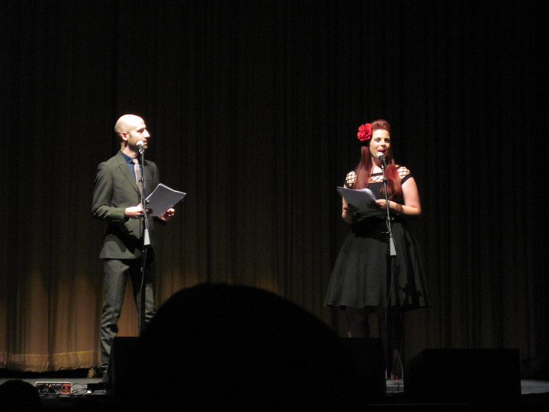 Cecil Baldwin and Meg Bashweiner on stage at the Welcome to Night Vale, Washington DC show