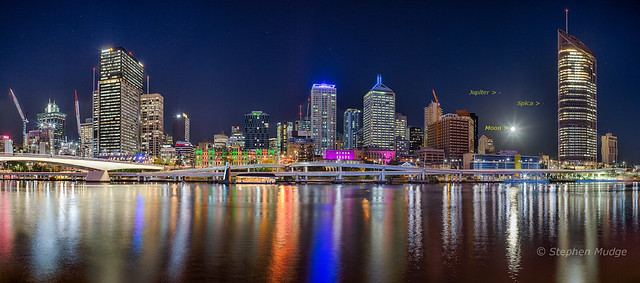 Jupiter, Spica and the Moon over Brisbane City