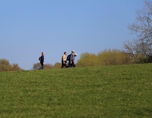 Walkers on a ridge