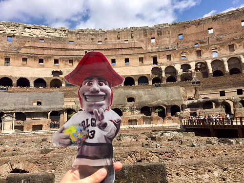 Emily Shlafmitz '18 majoring in English participating on spring 17 London English study group at theColosseum, Rome
