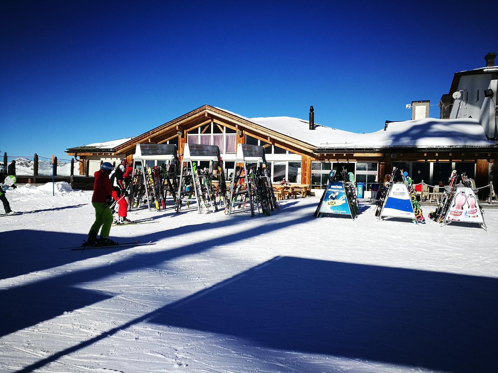 Ski lodge in the mid mountain