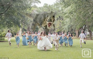 T-Rex chasing the wedding party