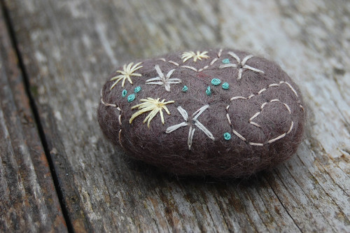 Embroidered felted stones #1 & #2