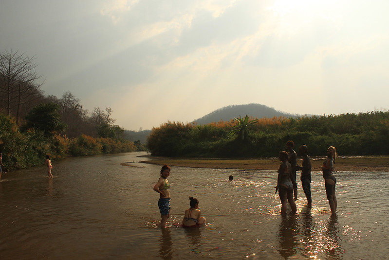 At the secret hotsprings in Pai, Thailand