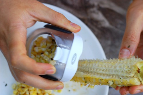 Using Oxo's corn stripper to get all the kernels off quickly by Eve Fox, the Garden of Eating blog, copyright 2013