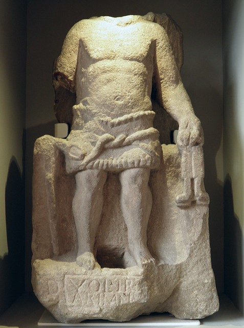 Headless statue of Arimanius, the devil who fought Mithras, shown with a lion's head, wings and a snake around his middle and holding the keys of his kingdom, Volusius Irenaus dedicated this, Yorkshire Museum, York