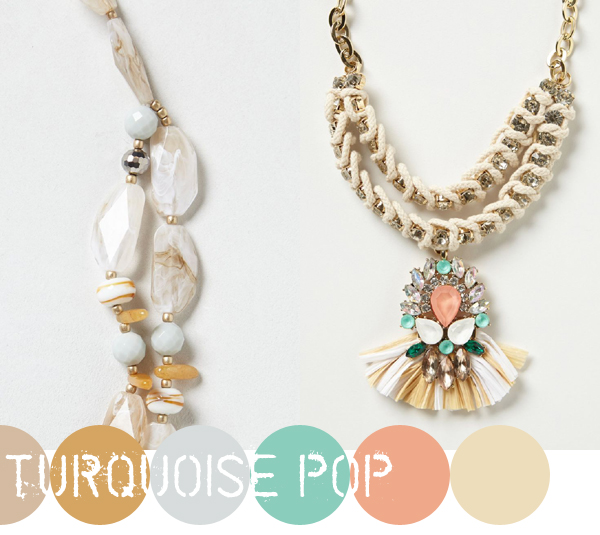 Clouded Bluff Necklace and Fanned Raffia Pendant from Anthropologie | Emma Lamb