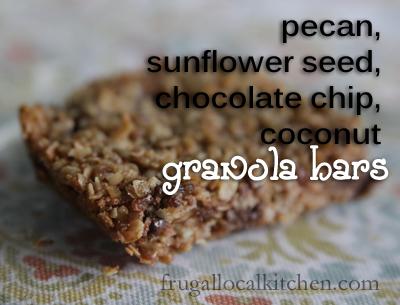 Pecan Sunflower Seed Chocolate Chip Coconut Granola Bars