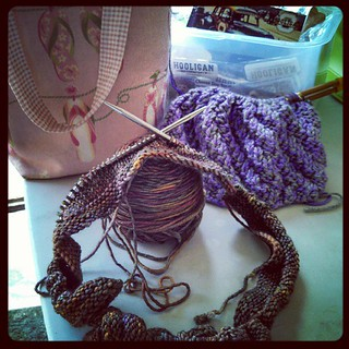 #yarnpadc #september Day 1... 2 UFOs at the racetrack today #crafty #knitting