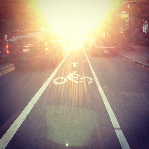 Spectacular bike commute weather this morning, but riding directly into the sun is a challenge!