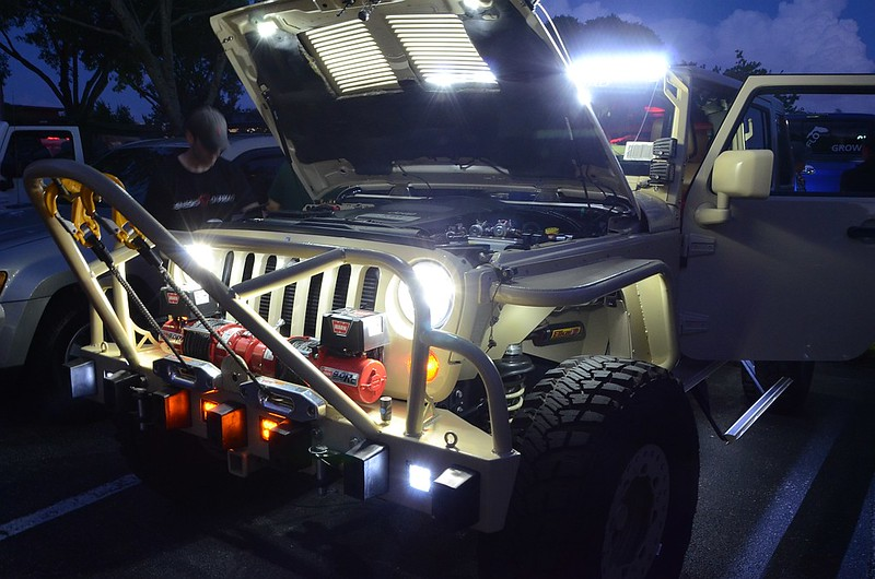 Custom rescue JK with just some of many lights switched on.