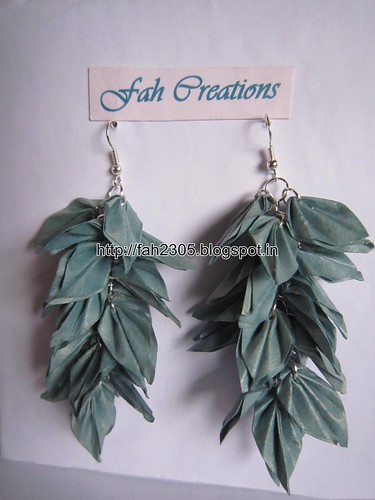 Handmade Jewelry - Origami Paper Leaves Earrings (16) by fah2305