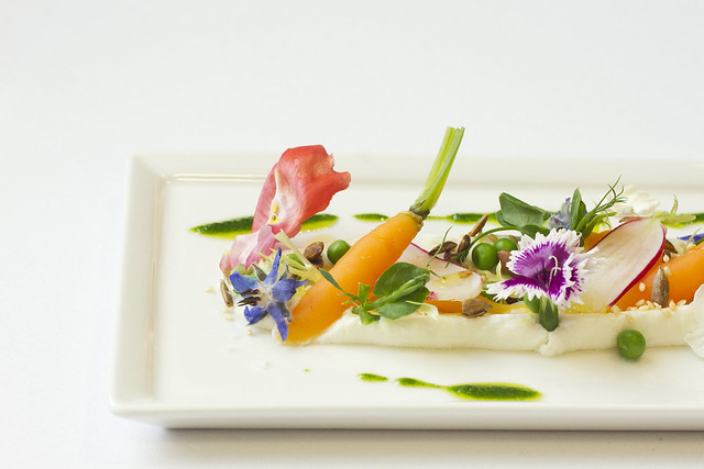 Spring vegetable goat cheese and flower salad © Royal Opera House Restaurants 2013