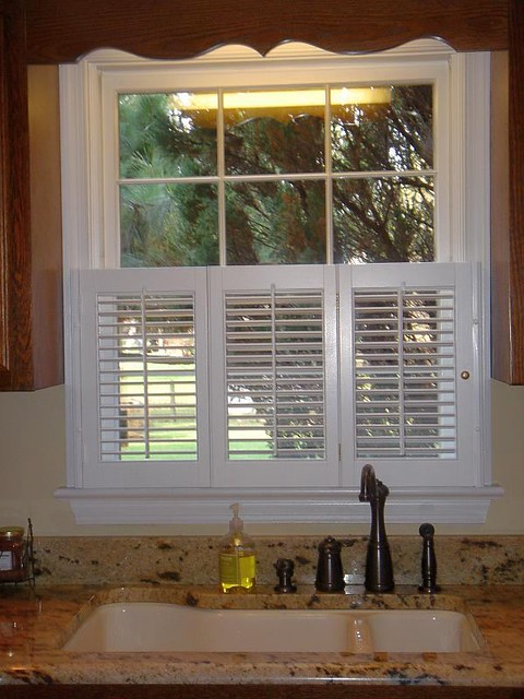 Shutters sample for louver shop roman shades hunter for Should plantation shutters match trim