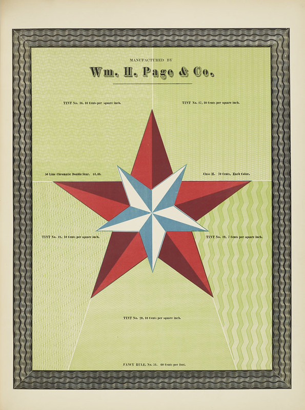 Specimens of chromatic wood type, borders 1874 - [via Columbia U] (Chromatic Double Star + background tints)