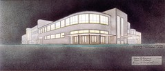 Porokhovskoy Recreation Center (House of Culture) : Leningrad :: N. A. Miturich, V. P. Makashov, etc. : Design :: Second Variant : Perspective : Watercolors, airbrush on paper : 1929