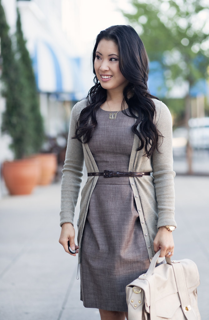 cute & little | mushroom brown dress, belted cardigan, onecklace monogram necklace outfit #ootd
