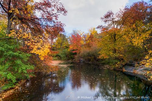 park bridge autumn lake newyork color reflection fall rock bay oak central bank hdr