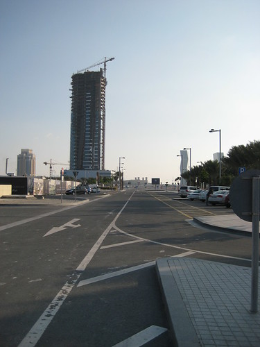 Car Park for Lusail Marina, looking inland from the marina with ZigZag towers on the right