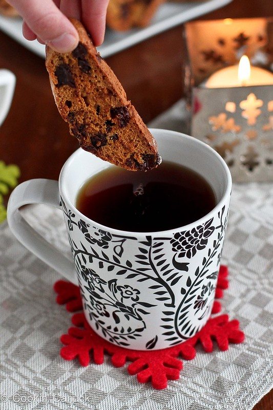 Whole Wheat Biscotti Recipe with Dark Chocolate & Cherries | cookincanuck.com #cookies #biscotti
