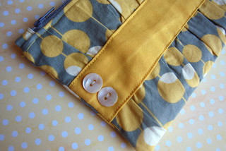 Gray and Yellow Gathered Clutch