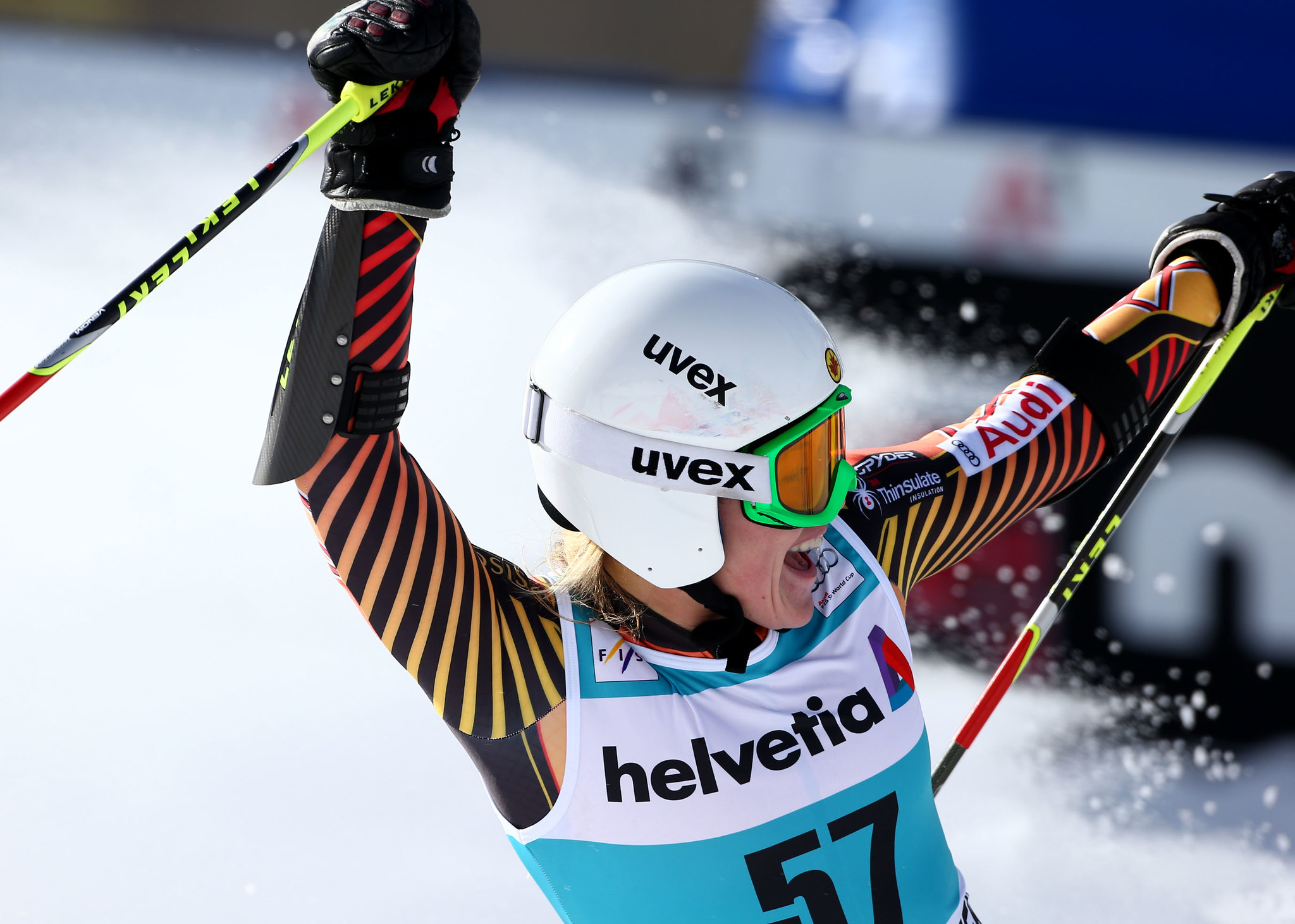 Erin celebrates a personal best 16th place finish in the giant slalom at the FIS Alpine World Cup in Beaver Creek, U.S.