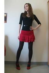 trousers(0.0), textile(1.0), clothing(1.0), abdomen(1.0), sleeve(1.0), leggings(1.0), maroon(1.0), limb(1.0), leg(1.0), trunk(1.0), photo shoot(1.0), human body(1.0), thigh(1.0), tights(1.0),