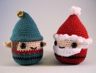 Chubby Santa and Christmas Elf amigurumi