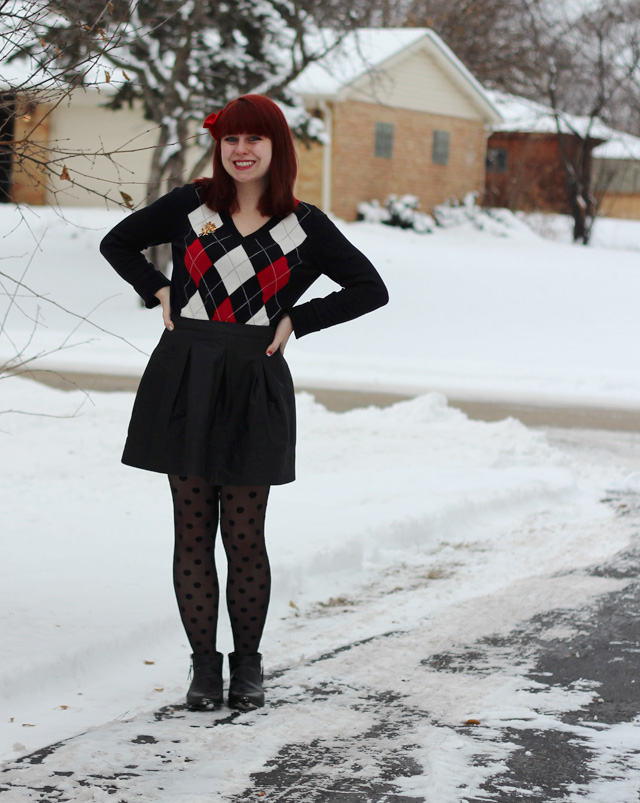 Argyle Sweater, Pleated Leather Skater Skirt, Polka Dot Tights