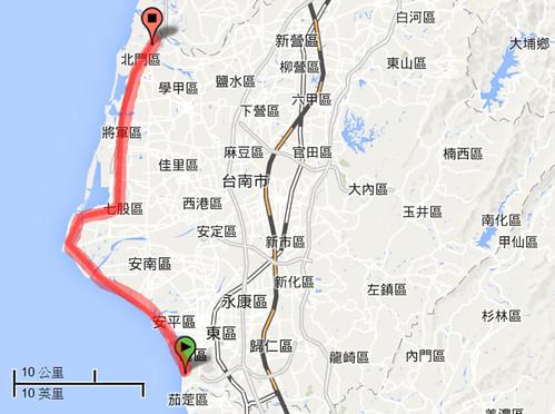 喜樹─雙春,台南海岸位置示意圖,截自google地圖。