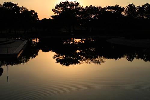 海浜公園の夕暮れ