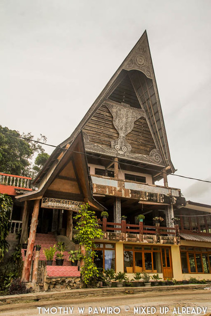 Indonesia - North Sumatra - Samosir - Lake Toba - Lekjon - Receptionist and Restaurant building