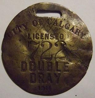 CALGARY, ALBERTA 1911 ---DOUBLE DRAY LICENSE